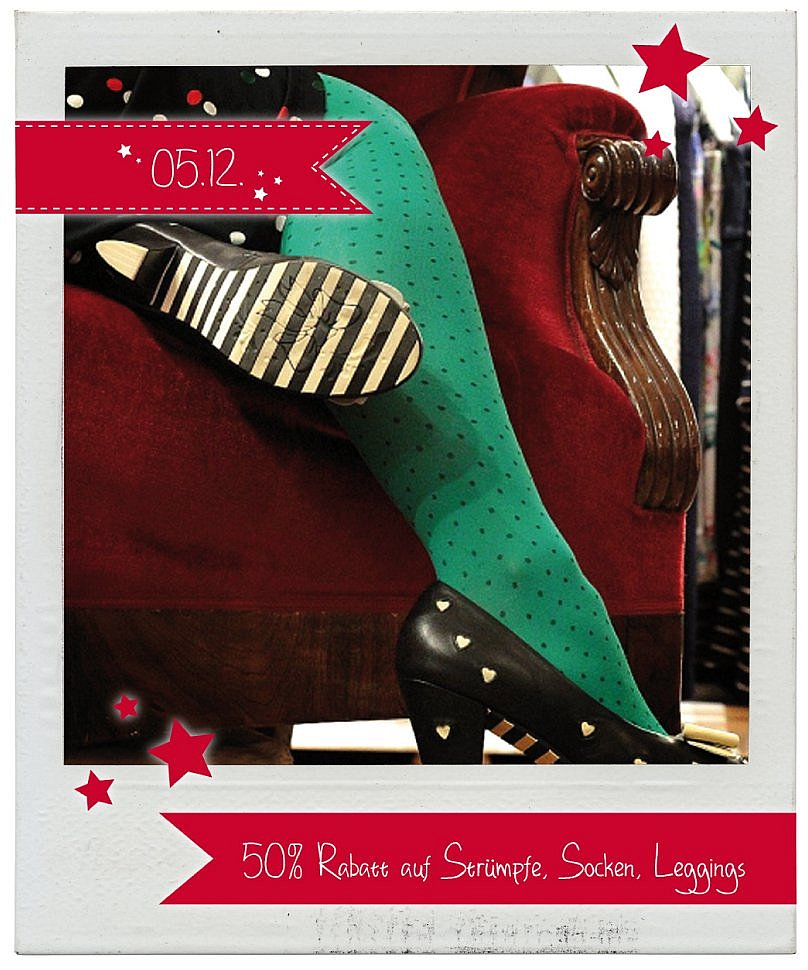 05.12.2015 Julekalender: 50 Prozent Rabatt auf Strümpfe, Socken und Leggings