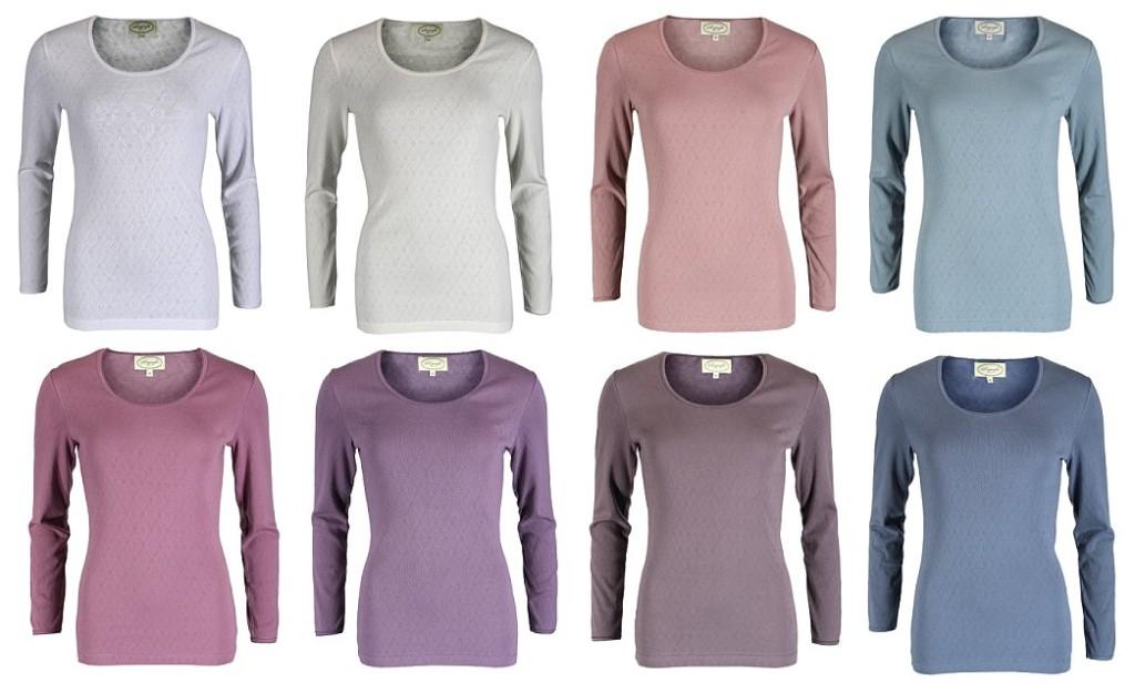 Langarmshirt Malin in den Farben White, Cream, Powder, Sky, Amethyst, Blueberry, Stone und Stormy (Quelle: sorgenfri-sylt.com)