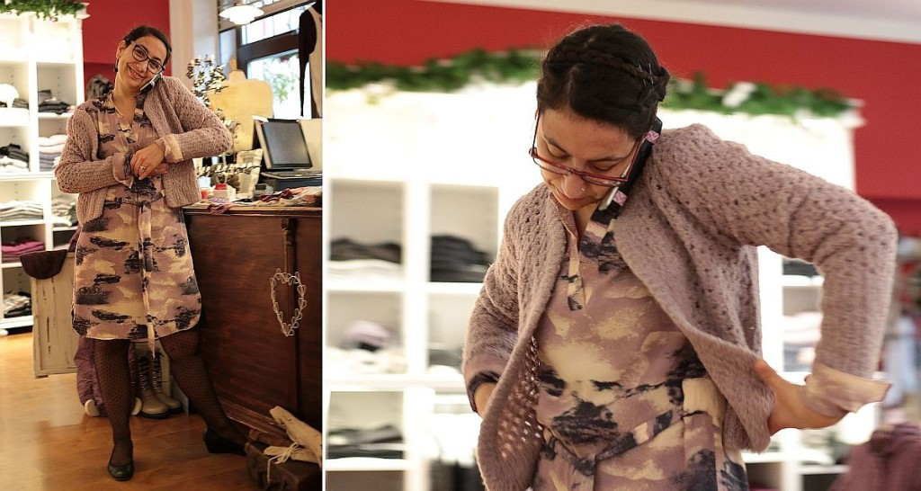 """Woman at work""-Outfit: Kleid ""Printed Moss Crepe"" und Strickjacke ""Boucle Knit"" von Noa Noa"
