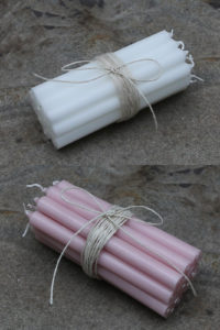 Stabkerzen in weiss und rosa