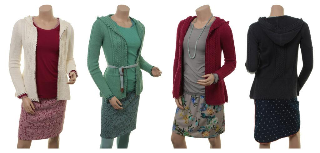 Knitwear Katla von Sorgenfri Sylt in den Farben Ivory, Pistachio, Cranberry und Night