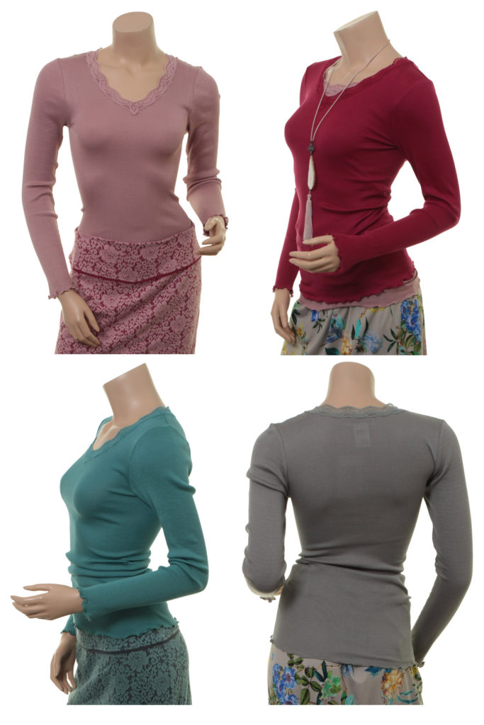 Shirt Kirsten von Sorgenfri Sylt in den Farben Powder, Cranberry, Teal und Moss