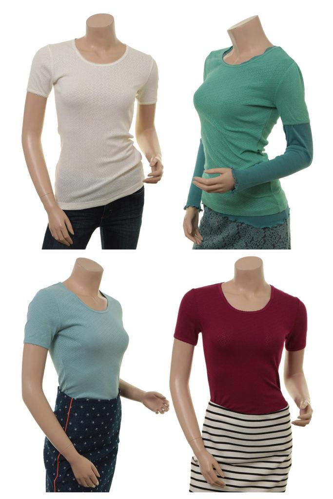 Shirt Maren von Sorgenfri Sylt in den Farben Ivory, Pistachio, Turquoise und Cranberry