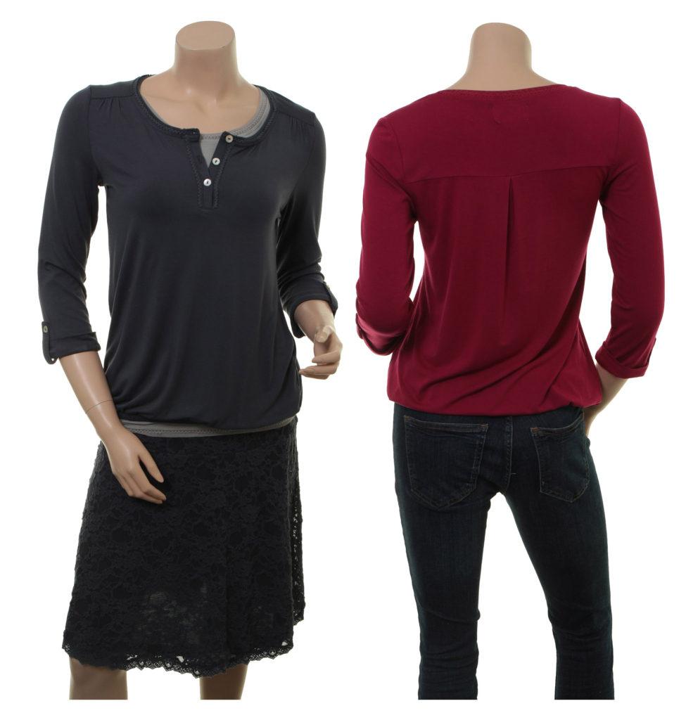 Shirt Viebke von Sorgenfri Sylt in den Farben Night und Cranberry