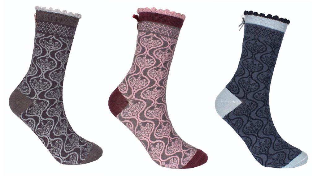 Socke Nati Damast in anthrazite, salbei und denim