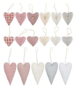 Stoff-Anhänger in Herzform von Ib-Laursen (2621-99, 2620-99 und 2622-99)