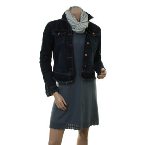 Scarf Dagni (18-030), Kleid Osrun (18-080) mit Jeansjacke Kevyn Part-Two